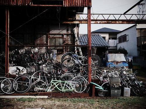 stacked bicycles