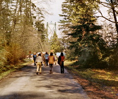 19700091 Heading to Stanley Park Be-In, Vancouver BC 1970 (CanadaGood) Tags: bridge people canada color colour tree green festival vancouver analog easter person bc britishcolumbia bein stanleypark 1970 lionsgatebridge seventies printfilm canadagood