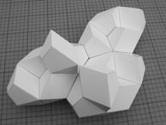 Space filling hendecahedron, step 14 (andreas.hopf) Tags: paper model geometry study cardboard mathematics papier modell folding karton studie polyhedron geometrie mathematik polyeder faltung