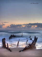 Ghost Ship part II. (new found hero *) Tags: mist beach sunrise boat sand ship glow moody fuji dramatic australia shipwreck filter fujifilm wreck sureal wreckage hdr highdynamicrange sunshinecoast caloundra firstlight cokin ghostship ssdicky photomatix s5pro glenholdaway newfoundhero