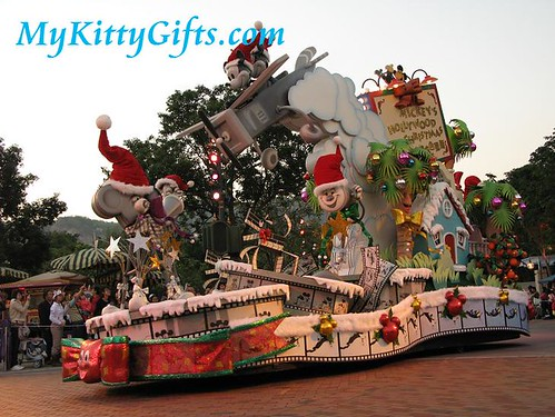 Hello Kitty's View of 'Mickey's Hollywood Christmas' Parade Cart in 'Let it Snow' Christmas Parade, Hong Kong Disneyland
