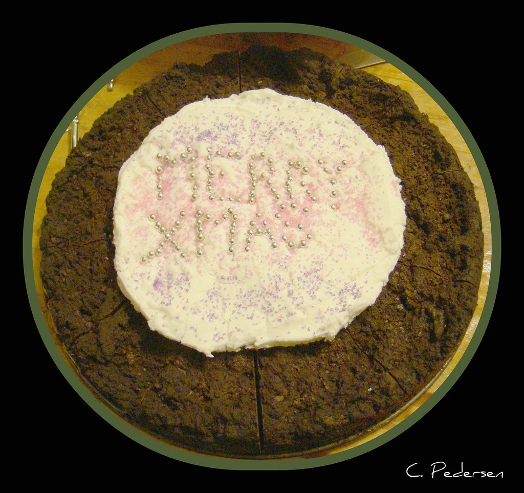Low-Carb Merry Xmas Cake (w/poorly done decoration)   :)