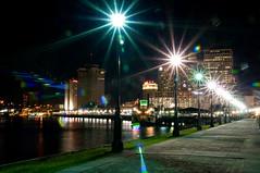 Bright Walk 2 (Eric Paul) Tags: city skyline night river mississippi nikon louisiana neworleans lensflare mississippiriver nola moonwalk d90