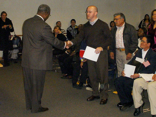 Receiving my Naturalization certificate