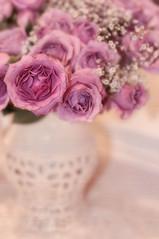 Lavender Romance (~lala~(Lisa)) Tags: flowers roses rose vintage petals flora nikon soft lace lavender lisa romance vase nostalgic romantic bouquet lacy pitcher oldfashioned babysbreath d90 nikond90 ~lala~ lavenderromance