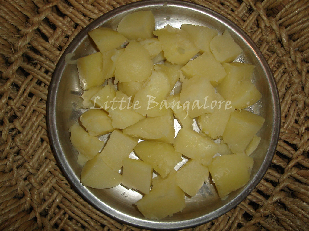 Boiled potato pieces