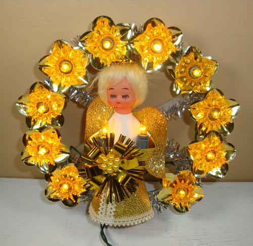 Vintage Angel Lighted Tree Topper Ornament by VintageTinsel