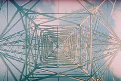 (Richard Stewart James Gaston) Tags: blue summer sky color colour film lines electric metal 35mm mirror symmetry line pylon richard parallel gaston