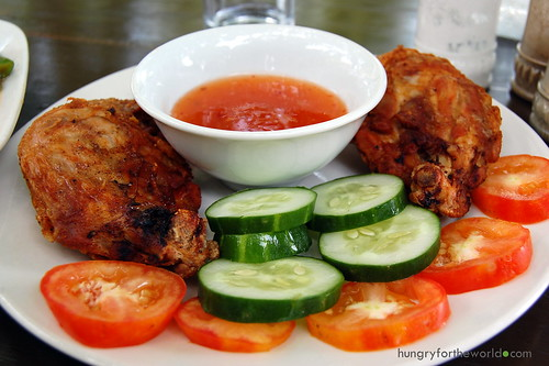 fried chicken with spicy sweet sauce