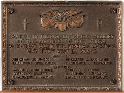 Saint Joseph Roman Catholic Church, in Bonne Terre, Missouri, USA - war memorial plaque