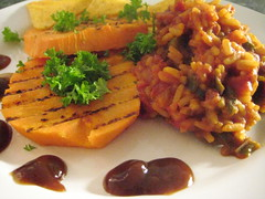 rice & beans with grilled sweet potato (miikkahoo) Tags: vegan beans rice sweet potato vegetarian grilled riisi bataatti grillattu
