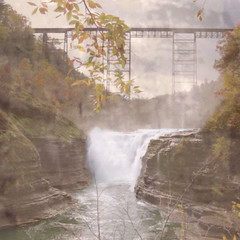 Letchworth (babymowgli16) Tags: park bridge autumn trees color nature water leaves clouds river square waterfall blog letchworth gorge dreamy geneseeriver wny