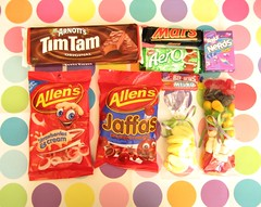the great candy swap (hello naomi) Tags: mars candy nerds bananas swap aero timtams strawberryandcream jaffas thegreatcandyswap allenslollies