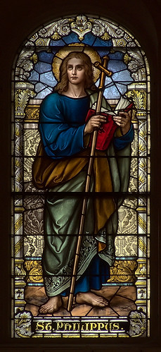 Saint Anthony of Padua Roman Catholic Church, in Saint Louis, Missouri, USA - stained glass window of Saint Philip