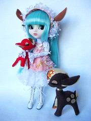 Prunella & her deer (Emily Bee  Follow The White Rabbit) Tags: doll plush deer pullip prunella followthewhiterabbit balletbambi