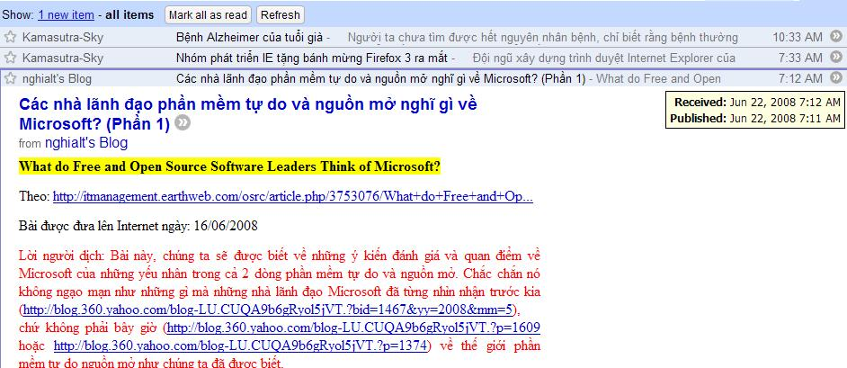 Đọc toàn trang blog của Yahoo360 qua Google Reader