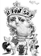 ALFONSO X, El Sabio (Morales de los Ros) Tags: writers caricaturas philosophers caricatures escritores filsofos