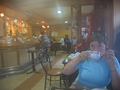 """Anne having a Cafe con Leche • <a style=""""font-size:0.8em;"""" href=""""http://www.flickr.com/photos/48277923@N00/2622703556/"""" target=""""_blank"""">View on Flickr</a>"""