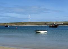 orkney boats (seligr) Tags: blue sea water boats scotland orkney windturbines burray