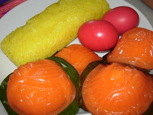 ang koo, nasi kunyit, red eggs