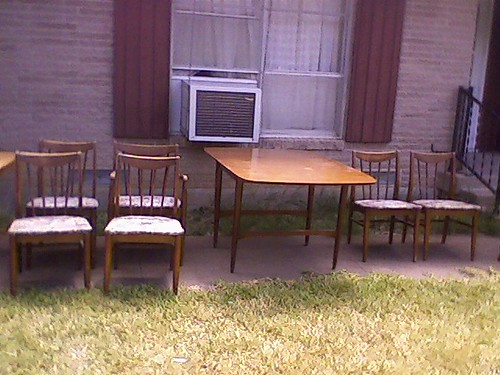 Solid wood dining table and 7 chairs