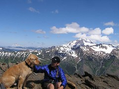 David and Mr. G with Glacier Peak  behind on summit