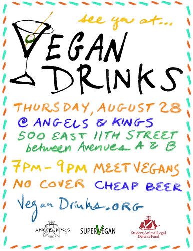 Vegan Drinks flier August 2008