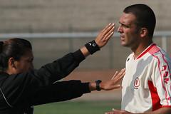 FUERA!!! EL CALLAO. PERU. (tupacarballo) Tags: blanco peru canon mujer manos protesta futbol deportes arbitro jugador elcallao