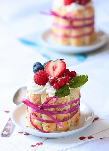 Toasted Coconut And Berries Charlottes