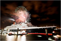 QE2 leaving Liverpool with fireworks (petecarr) Tags: liverpool fireworks qe2