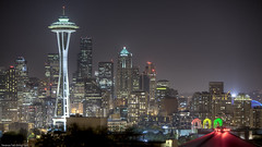 Space Needle and Pacific Science Center (ttstam) Tags: seattle longexposure skyline night cityscape spaceneedle hdr terence lightroom ttstam terencetakshingtam pravda052009 pravdaprint