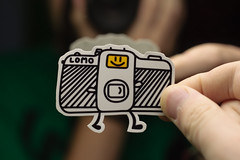 Lomo Sticker (ukaaa) Tags: white black feet yellow digital student lomo lca lomography sticker drawing room character doodle stick illustrator kot waterproof zink polaroidpogo