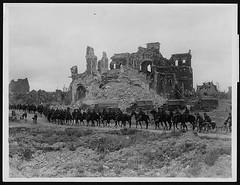 British cavalry passing the ruins of Albert ca...