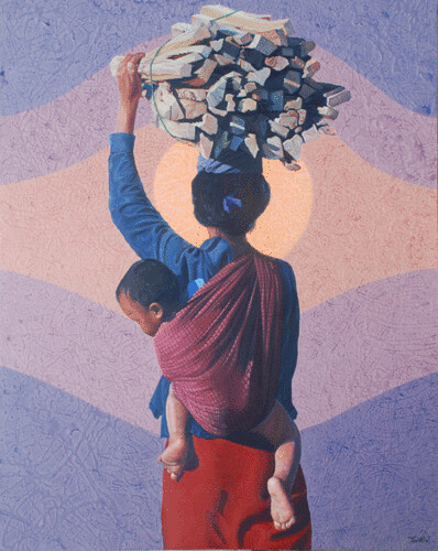 Hill Tribe of Myanmar series 15, by Tin Win, mixed media, 90x120cm