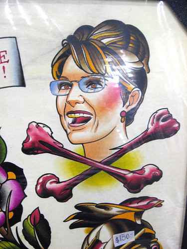of VP candidate Sarah Palin as a Skull and Crossbones Poison tattoo was