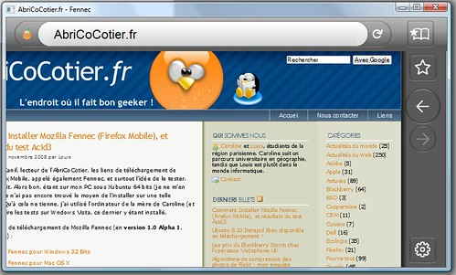 Test Mozilla Fennec sur Windows Vista