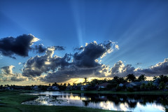 Florida Sunset (David Garza Photography) Tags: sunset sky lake clouds golf pond florida course golfcourse reflective hdr highdynamicrange westonflorida 450d hdrpro