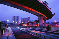 Highway (Andrey Permitin) Tags: urban architecture lights highway industrial moscow curves bluehour      nikond200  tamron1750 golddragon mywinners aplusphoto damniwishidtakenthat