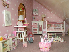 dollhouse nursery (fairyina3) Tags: pink baby cute scale toy toys miniature doll dolls basket handmade room nursery mini kawaii rement 112 dollhouse cradle dollhouselighting