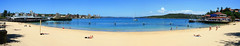 Hand held panorama - Manly Beach Sydney (Tanya Puntti (SLR Photography Guide)) Tags: ocean panorama beach ferry boat sand manly sydney manlybeach sunbaking australianbeach mywinners abigfave handheldpanorama