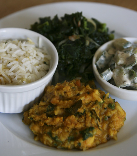 Dal, Rice, Greens and Raita
