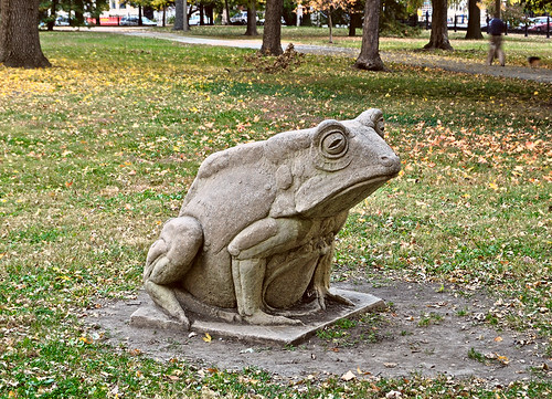 Lafayette Square Neighborhood, in Saint Louis, Missouri, USA - Lafayette Park - statue of frog