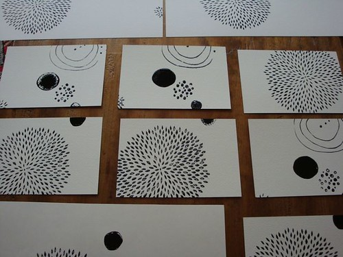 screen prints drying