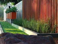 Feature wall - wooden decking (Badec Bros Deco) Tags: b outdoor planters landscaping mosaic contemporary steel indoor powder pots benches decor deco bros coated gabions pergolas a badec cubedec cubench
