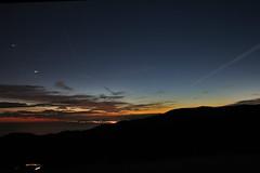 sunset (tramonto) (fabbbio986) Tags: blue stella light sea italy orange sun clouds stars star lava tramonto nuvole mare liguria profile genoa genova cielo notte aereo rivarolo arancione monti stelle profili ghe slipstream madonnadellaguardia pontedecimo semmu