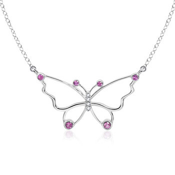18k White Gold Multi-Colored Gemstones Butterfly Pendant (1 1/10 ct. tw.)