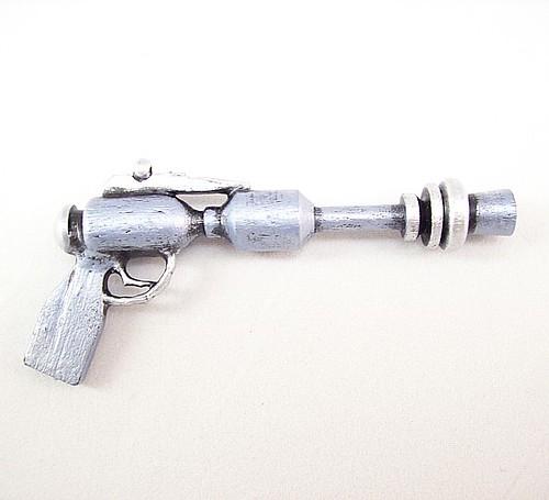 Classic Space Cadet Retro Ray Gun Blue Silver Wood Pendant Ornament Science Fiction Dangle 2