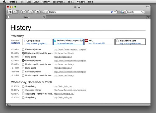 Firefox session restore startup page mockup