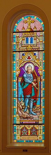 Saint Boniface Roman Catholic Church, in Germantown, Illinois, USA - stained glass window of Saint George