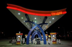 Shell Station (J R Webb) Tags: night neon shell gas fuel wideanglelens 1879pg